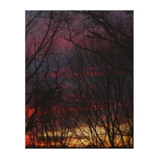 Winter-Sonnenuntergang Holzleinwand