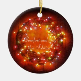 Winter-Sonnenwende-Feen-LichterWreath Rundes Keramik Ornament