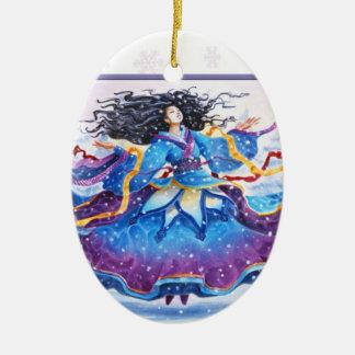 Winter-Sonnenwende-Schneefälle Keramik Ornament