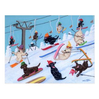 Winter-Spaß Ski fahrende Labradors Malerei Postkarte
