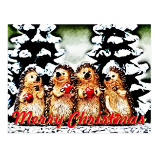 Winter-Spaß-Stachelschwein-Weihnachten Postkarte