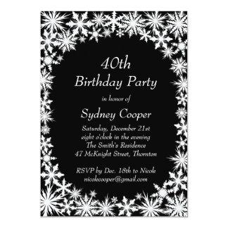 Winter-Spitze-40. Geburtstags-Party Einladung