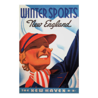 Winter-Sport-Neu-England New-Haven Eisenbahn Poster
