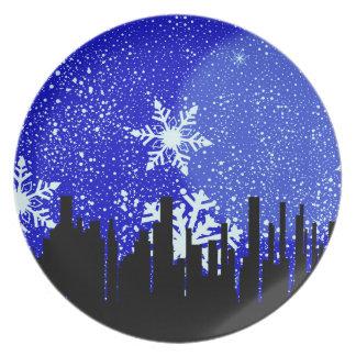 Winter-Stadtbild-Hintergrund Teller