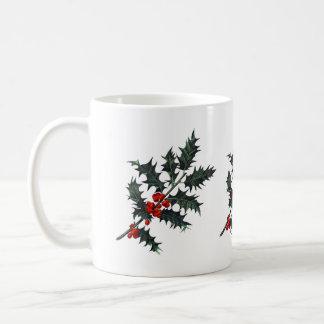 Winter-Stechpalmen-Beeren-festlicher Kaffeetasse