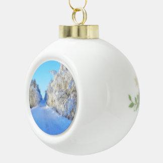 Winter-Straße Keramik Kugel-Ornament