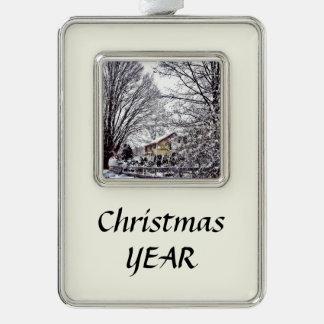 Winter-Szene Rahmen-Ornament Silber