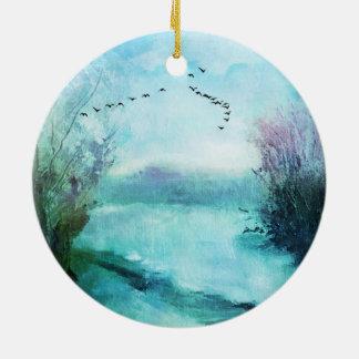 Winter-Szenen-Doppeltes versah Keramik Ornament