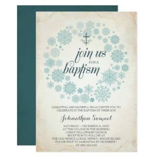 Winter-Taufe-Einladungs-Schablone, Junge Karte