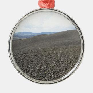 Winter-Toskana-Landschaft mit gepflogenen Feldern Silbernes Ornament