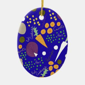 Winter veg ovales keramik ornament