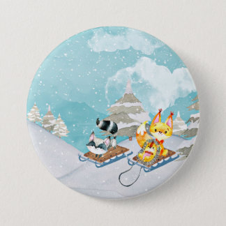 Winter-Waldfreunde - Fox-Igels-Illustration Runder Button 7,6 Cm