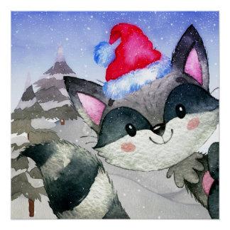 Winter-Waldwaldfreunderacoon-Illustration Poster