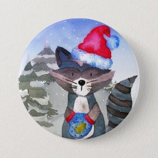 Winter-Waldwaldfreunderacoon-Illustration Runder Button 7,6 Cm