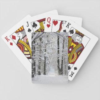 Winter-Waldweg-Spielkarten Spielkarten