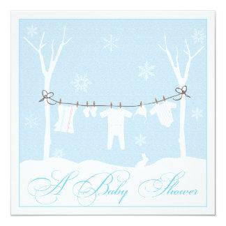 Winter-Wäscheleine-Babyparty-Einladung Quadratische 13,3 Cm Einladungskarte