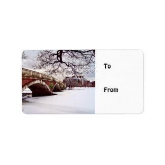 Winter-Weihnachten auf dem Charles River Boston Adressaufkleber
