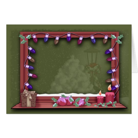 winter weihnachtsfenster beleuchtet foto einsatz gru karte zazzle. Black Bedroom Furniture Sets. Home Design Ideas