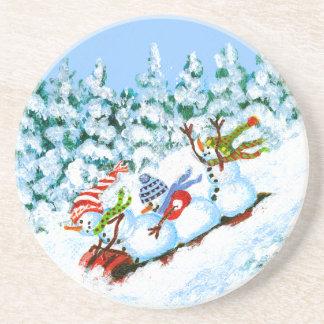 Winter-Weihnachtsgetränk-Untersetzer, Snowmen Getränkeuntersetzer