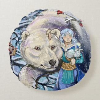 Winter wickelt Polarbear Rundes Kissen