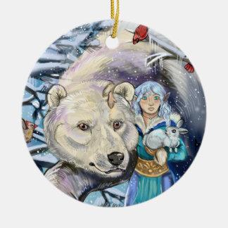 Winter wickelt polare Bear~ runde Verzierung Rundes Keramik Ornament