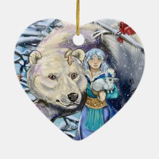 Winter wickelt polares Bear~ornament Keramik Herz-Ornament