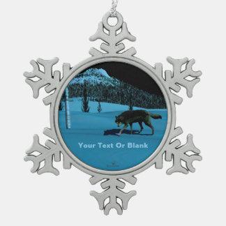 Winter-Wolf - Tapetum Lucidum Schneeflocken Zinn-Ornament