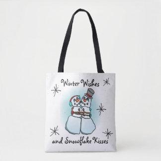 Winter wünscht Snowman-Taschen-Tasche Tasche