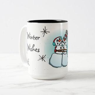 Winter wünscht Snowman-Tasse Zweifarbige Tasse