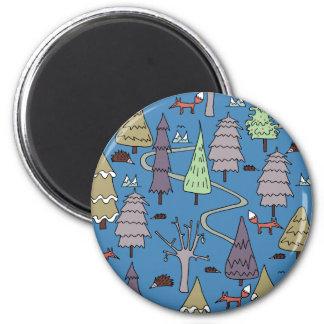 Winterbäume Runder Magnet 5,7 Cm