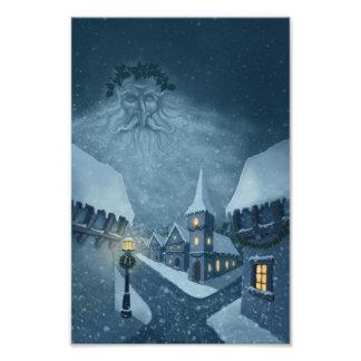 Winterfeiertags-Fotodruck des alten Mannes Foto