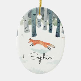 WinterFox Ovales Keramik Ornament