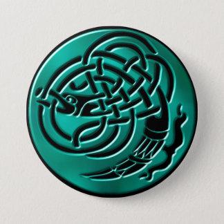 Wintergreen keltischer Drache-Knoten-Knopf Runder Button 7,6 Cm