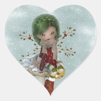 Wintergrün Herz-Aufkleber