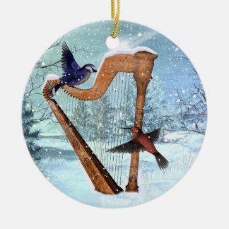 Winterharfenverzierung fertigen besonders an rundes keramik ornament
