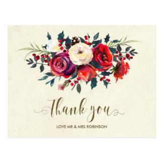 Winterhochzeit danken Ihnen Rosenbeeren Postkarte