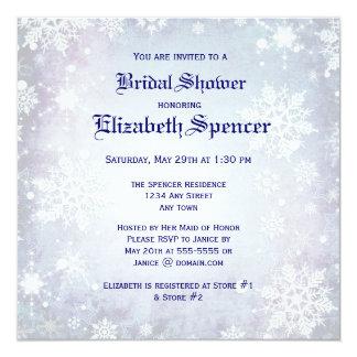 Winterliche blaue Brautparty-Einladung Quadratische 13,3 Cm Einladungskarte