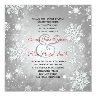 Winterliche graue Hochzeits-Einladung Quadratische 13,3 Cm Einladungskarte