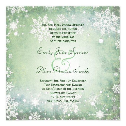 Winterliche grüne Hochzeits-Einladung