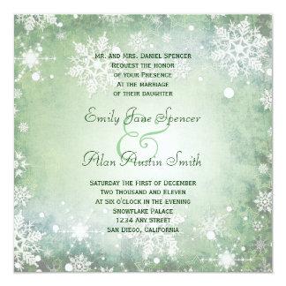 Winterliche grüne Hochzeits-Einladung Quadratische 13,3 Cm Einladungskarte