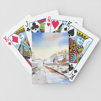 Winterliche Weg-Aquarell-Landschaftsmalerei Bicycle Spielkarten