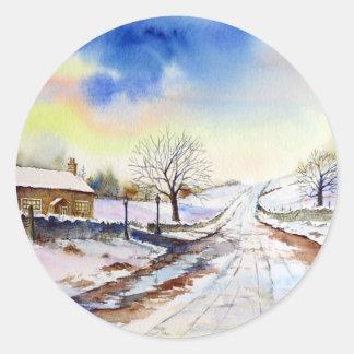 Winterliche Weg-Aquarell-Landschaftsmalerei Runder Aufkleber