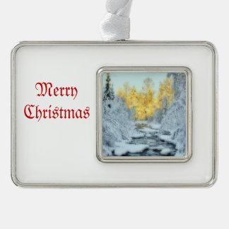 Winterlicher Strom Rahmen-Ornament Silber