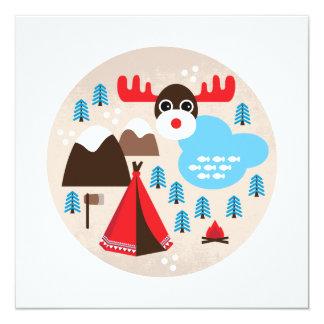 Wintermärchenlandelch-Weihnachtspostkarte Quadratische 13,3 Cm Einladungskarte