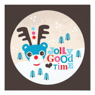 Wintermärchenlandren-Weihnachtspostkarte Quadratische 13,3 Cm Einladungskarte