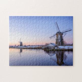 Wintermorgen in der niederländischen Laubsäge Puzzle