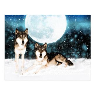 Winterphantasiekunst-Wolfpostkarte vom moonalke Postkarte