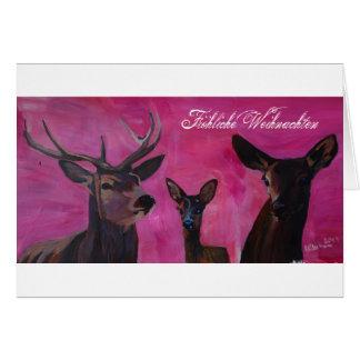 Winters Deer Family Froehliche Weihnachten Karte