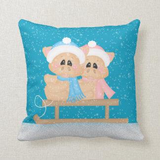 Wintersaisonschweine Feiertags-Wurfskissen Kissen