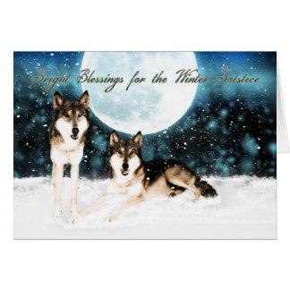 Wintersonnenwende-Grußkarte mit wolfs und Mond Grußkarte